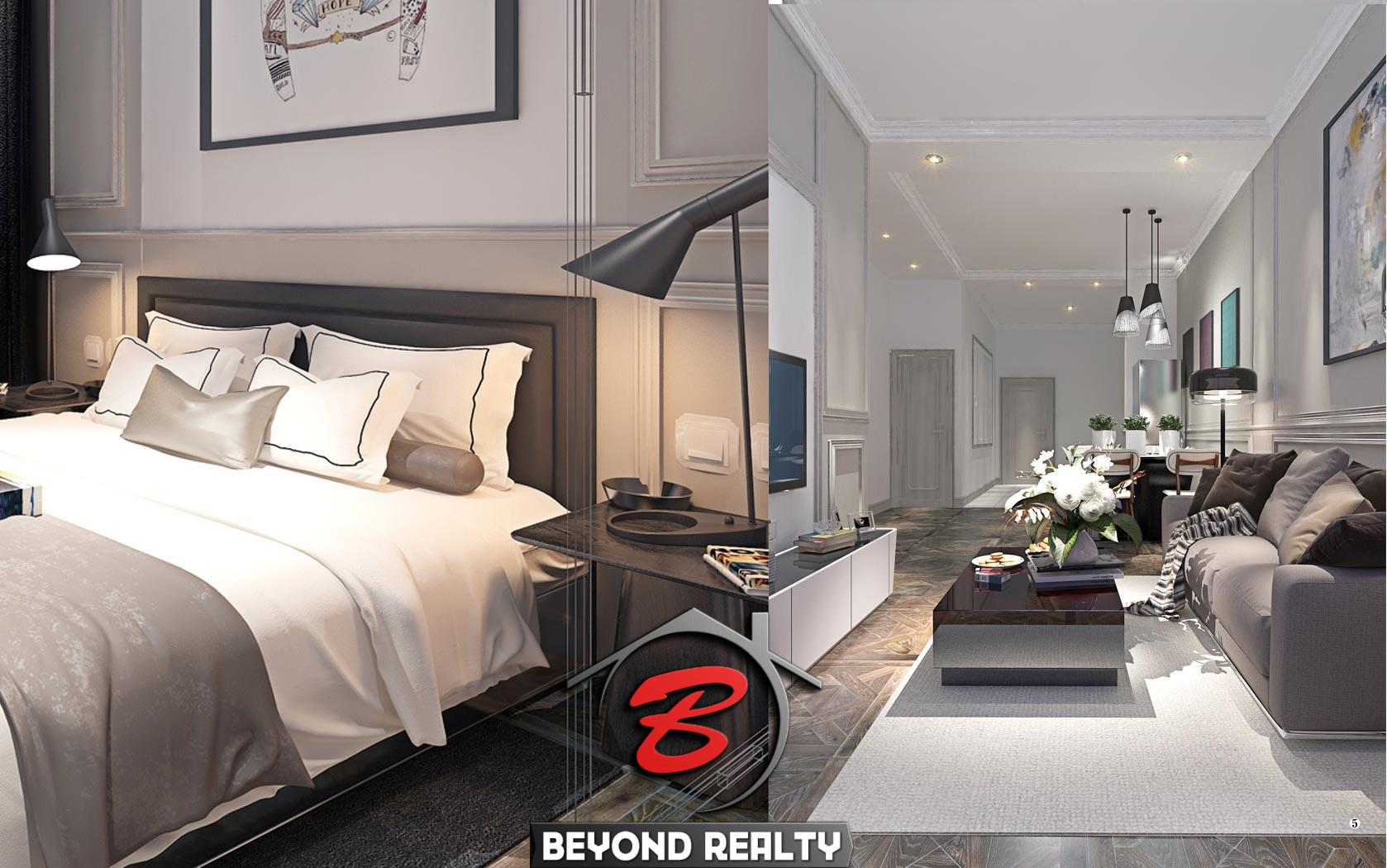 a bedroom and the living room of the 1 bedroom condo unit for sale at SeaGate Suite in Sangkat 3 Sihanoukville