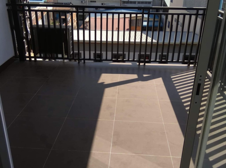 the balcony of the 2br renovated apartment for sale riverside Phnom Penh
