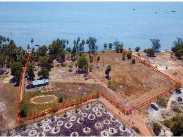 aerial view of the beachfront land for sale in Changhaon, Tuek Chhou Kampot Cambodia - layout lines