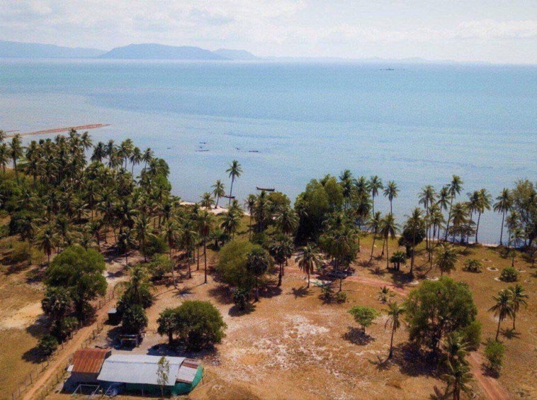 aerial view of the beachfront land for sale in Changhaon, Tuek Chhou Kampot Cambodia