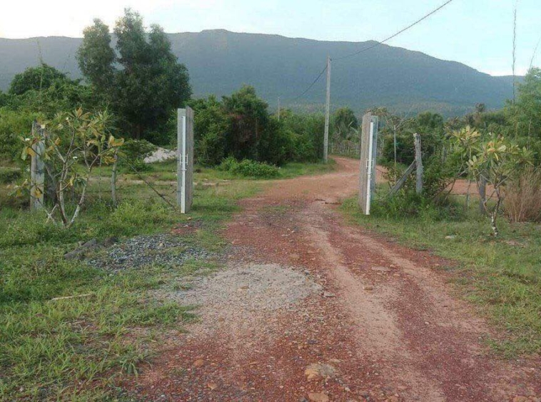 the road of the beachfront land for sale in Changhaon, Tuek Chhou Kampot Cambodia