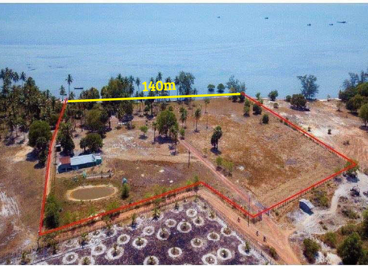 the measures of the beachfront land for sale in Changhaon Tuek Chhou Kampot Cambodia