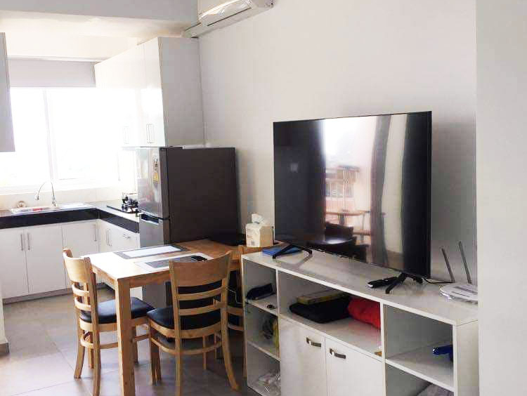 the living room of the modern studio condo resale at CVIK Apartments 3 in Sangkat 4 Sihanoukville Cambodia