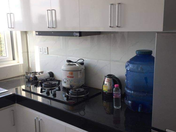 the kitchen of the modern studio condo resale at CVIK Apartments 3 in Sangkat 4 Sihanoukville Cambodia