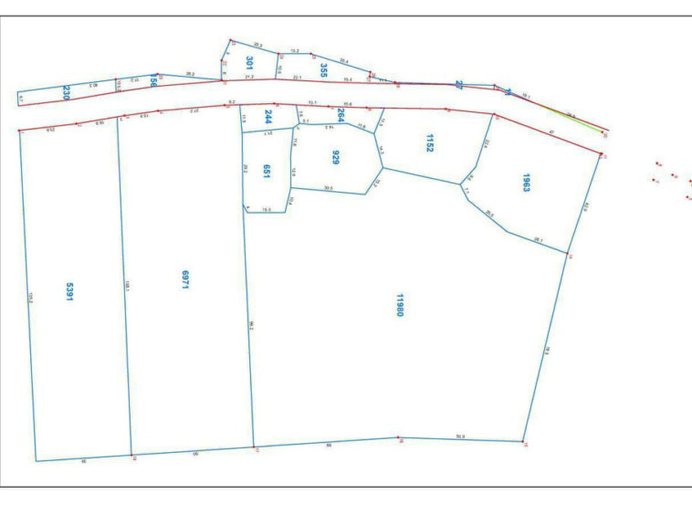 the layout of the land plots in the riverside land for sale in Ta Doeb Andoung Khmer Kampot Cambodia