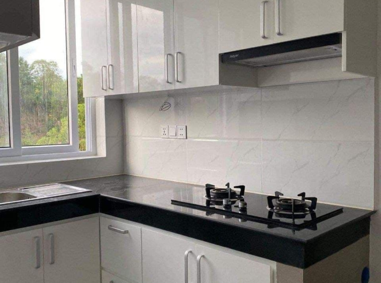the kitchen of the studio apartment resale at CVIK Apartments 3 in Sangkat 4 Sihanoukville Cambodia