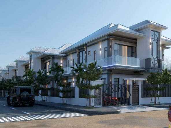 the exterior of the twin villa for sale in Kampot