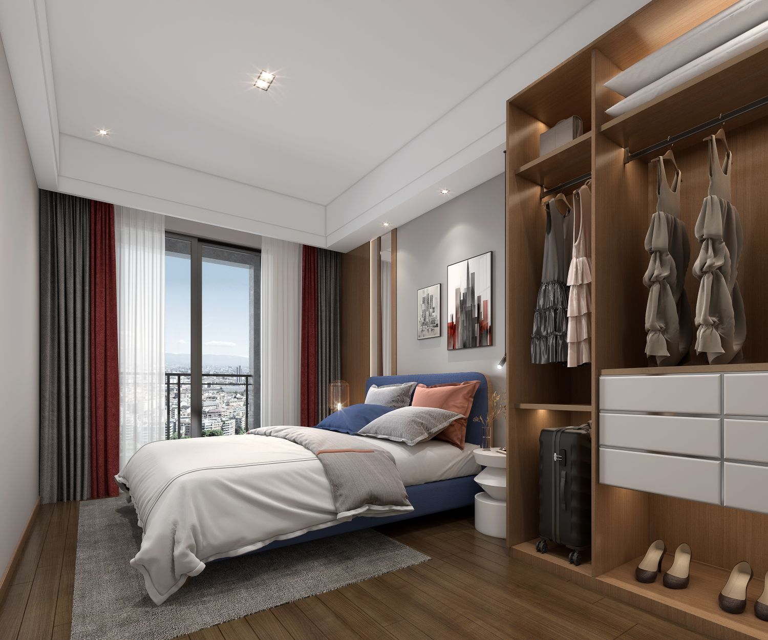 thebedroom of the 1 bedroom condo for sale at Prince Huan Yu Center in Tonle Bassac Phnom Penh Cambodia