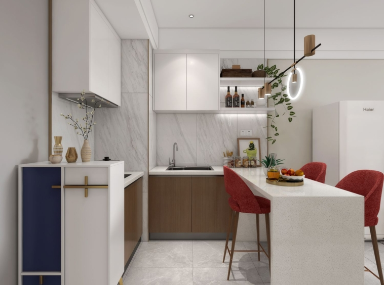 the kitchen of the 1 bedroom condo for sale at Prince Huan Yu Center in Tonle Bassac Phnom Penh Cambodia