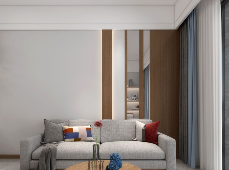 the living room of the 1 bedroom condo for sale at Prince Huan Yu Center in Tonle Bassac Phnom Penh Cambodia