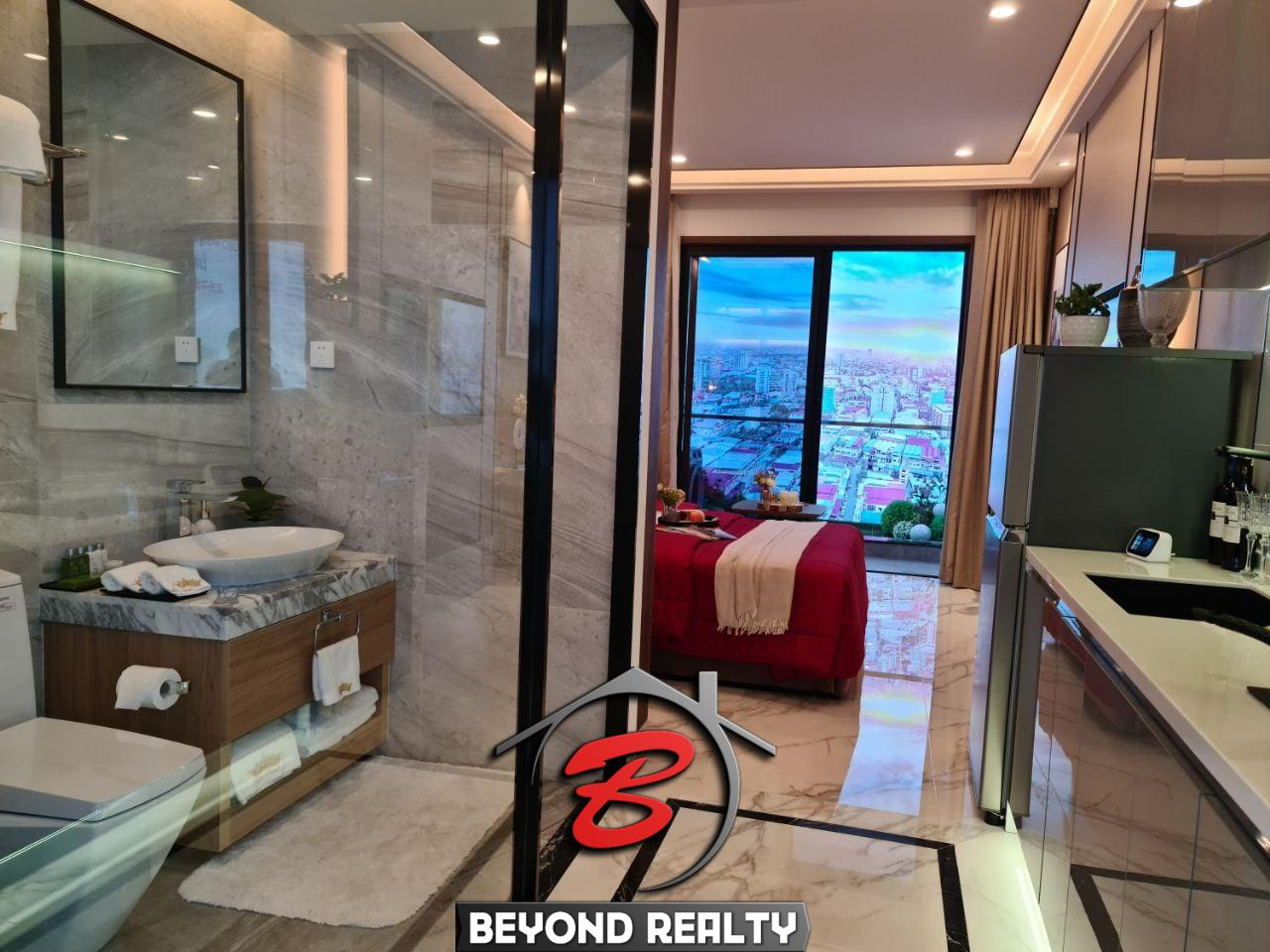 the living room of the studio condo for sale at Prince Happiness Plaza