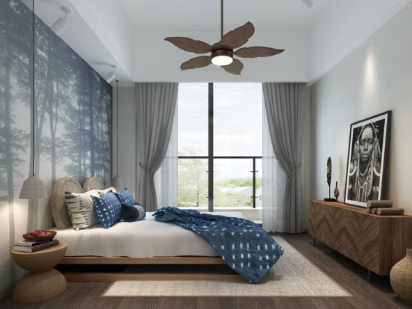the bedroom of the 1 bedroom condo for sale at Prince Golden Bay in Sangkat 3 Sihanoukville