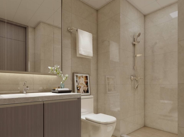 the bathroom of the studio condo for sale at Prince Golden Bay in Sihanoukville