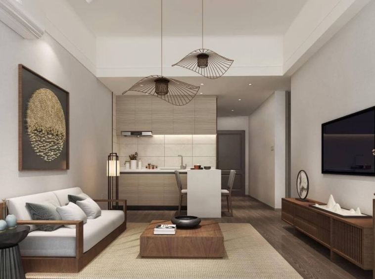 the living room of the 1 bedroom condo for sale at Prince Golden Bay in Sangkat 3 Sihanoukville