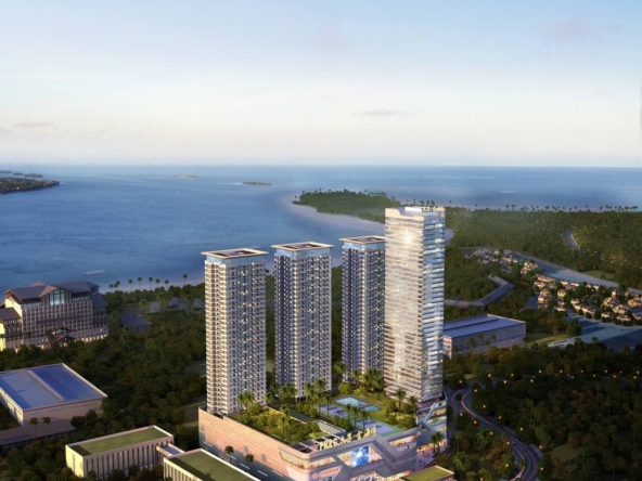 the bedroom of the studio condo for sale at Prince Golden Bay in Sihanoukville