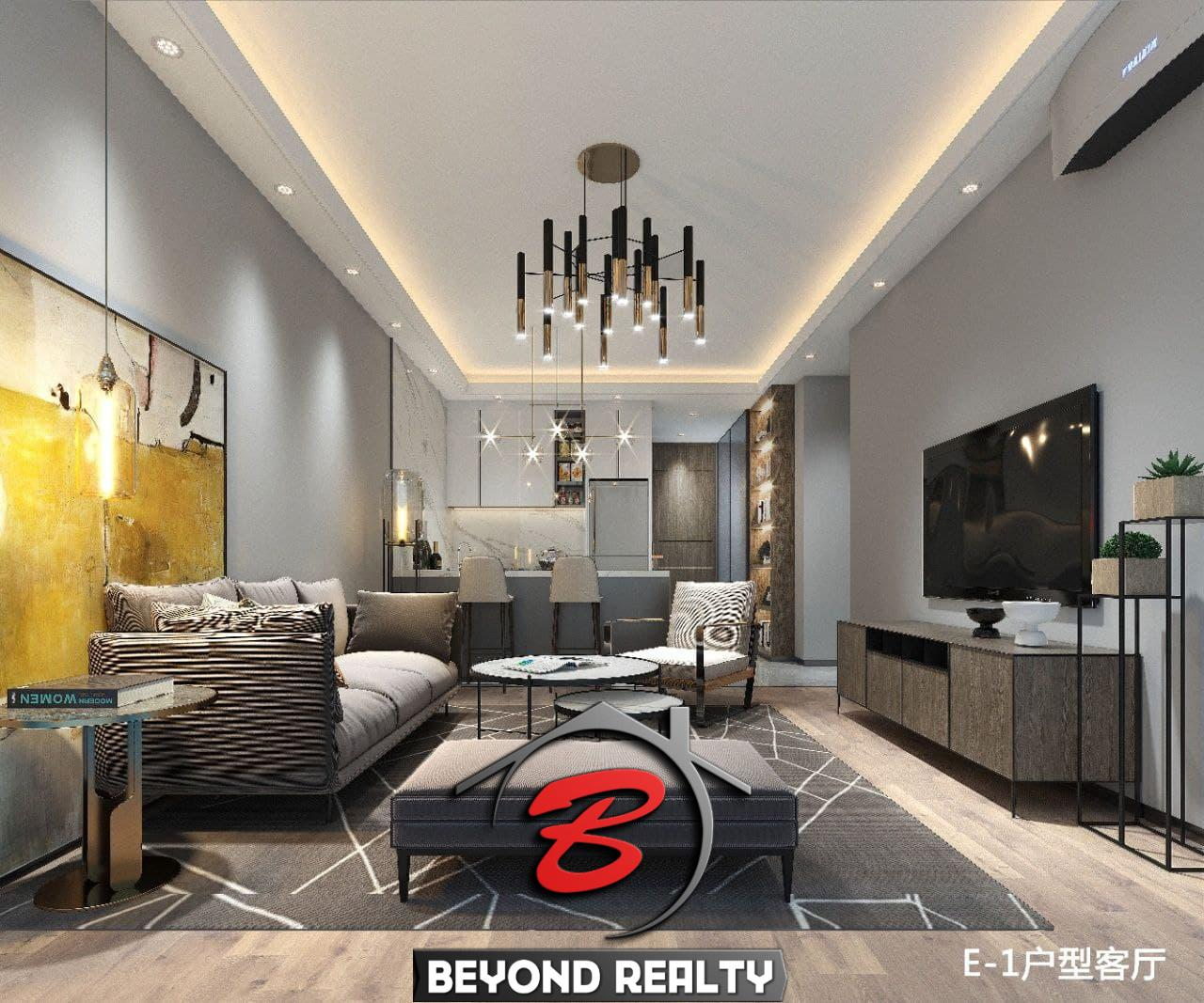 the living room of the 1br condo for sale at Treasure Bay Sihanoukville