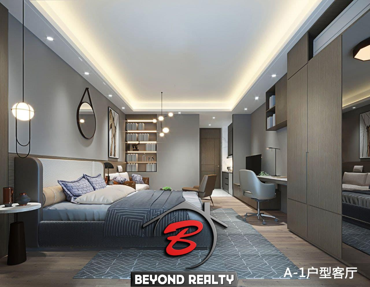 the bedroom of the 1br condo for sale at Treasure Bay Sihanoukville